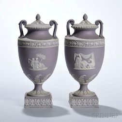 Pair of Wedgwood Lilac Jasper Dip Vases and Covers