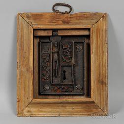 Framed 13th Century Iron Lock