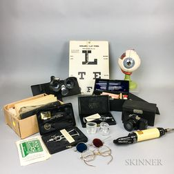 Collection of Ophthalmologist Instruments, Spectacles, and Stereoscopic Charts