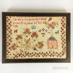 """Framed """"Sarah Bern"""" Needlework Sampler"""