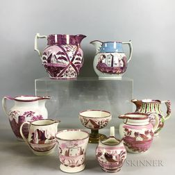 Nine Architectural-decorated Pink Lustre Vessels