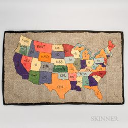 Hooked Rug of the Continental United States