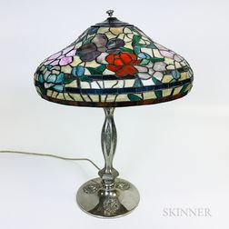 Art Nouveau-style Silver-plate and Mosaic Glass Table Lamp