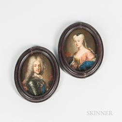 Continental School (Possibly French), 18th Century      Pair of Pendant Miniature Portraits of a King and Queen