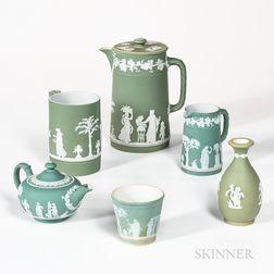 Six Pieces of Wedgwood Light Green Jasperware