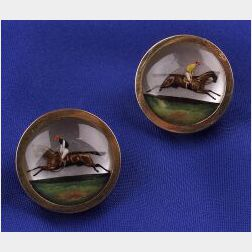 Antique Reverse Painted Crystal Cuff  Buttons