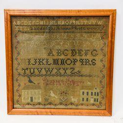 """Framed """"Elizabeth Fellows"""" Needlework Sampler"""