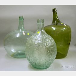 Three Large Aqua and Olive Blown and Molded Glass Demijohns.