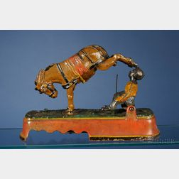 "Stevens Cast Iron ""I Always Did 'Spise A Mule"" Boy on Bench Mechanical Bank"