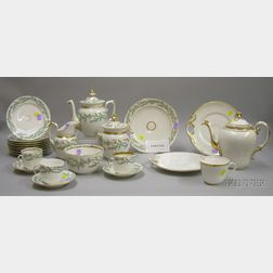 Thirty-one Piece Paris Porcelain Gilt and Hand-painted Floral Decorated Partial Tea Service