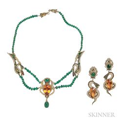14kt Gold, Citrine, Emerald, and Seed Pearl Necklace and Earrings