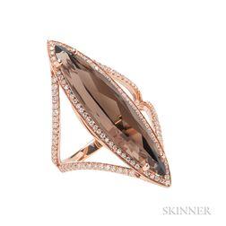 18kt Rose Gold, Smoky Quartz, and Diamond Ring