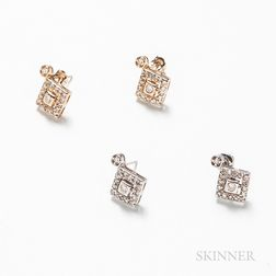 Two Similar Pairs of 14kt Gold and Diamond Earrings