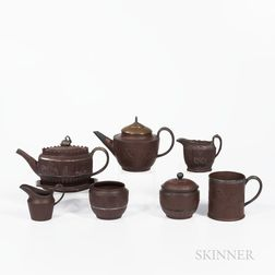 Eight S. Hollins Brown Stoneware Tea Wares