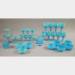 Thirty Pieces of Blue Opaline Glass Tableware