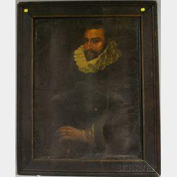 After El Greco (Greek, 1541-1614)      Portrait of a Gentleman Wearing a Ruff Collar.
