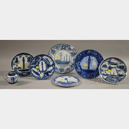 Seven Blue and White Transfer-decorated Pottery Cape Cod Souvenir Items