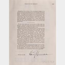 Truman, Harry S. (1884-1972), Presentation Copy