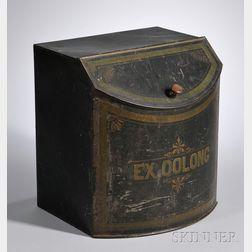"Paint-decorated Tin Slant-lid Bowfront Retail Floor ""Ex. Oolong"" Tea Bin"