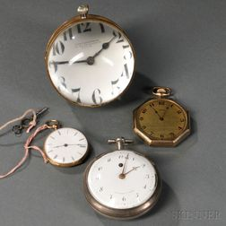 Three Pocket Watches and a Paperweight Clock