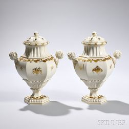 Pair of Wedgwood Queen's Ware Potpourri Vases and Covers