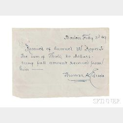 Edison, Thomas Alva (1847-1931) Autograph Document Signed, Boston, 3 February 1869.