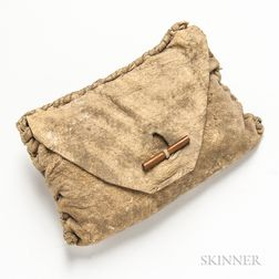Leather Witch Doctor Pouch with Bones