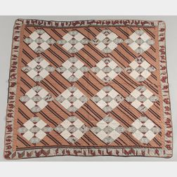 Hand-stitched Nine Patch with Hourglass Blocks Civil War-era Calico Quilt