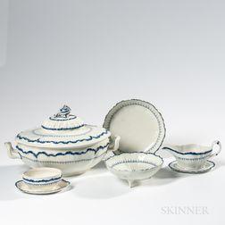 Six Wedgwood Mared Pattern Pearlware Tableware Items