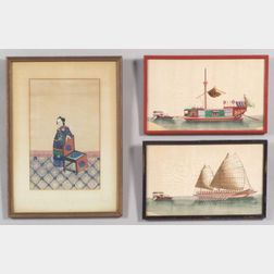 Chinese School, 19th Century      Lot of Seven Framed Pith Paper Export Paintings.