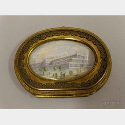 Bronze Box with Ivory Portrait of the Crystal Palace, London, in a Medallion.