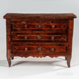 Neoclassical Walnut-veneer Miniature Commode