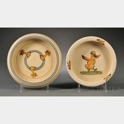 Early Roseville Pottery Child's Plate and a Weller Pottery Child's Plate
