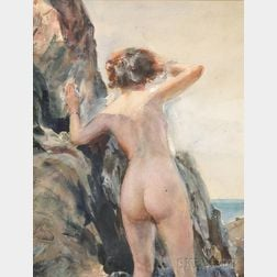 John Whorf (American, 1903-1959)      Nude Beside an Oceanside Cliff