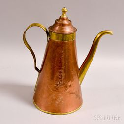Engraved Copper and Brass Coffeepot