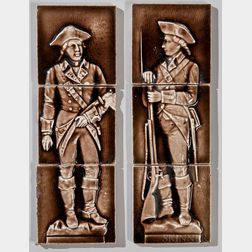 Two Providential Tile Works Three-part Revolutionary War Soldier Tiles