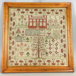 "Framed ""Ann Cheetherns"" Adam and Even Needlework Sampler"