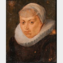 Dutch School, 17th Century Style      Head of a Woman in a Ruff and White Cap, Both Accented in Silver Pigment