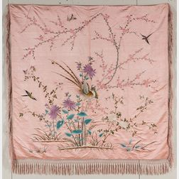 Embroidered Silk Coverlet