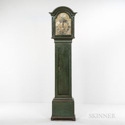 Green-painted Brass-dial Tall Clock
