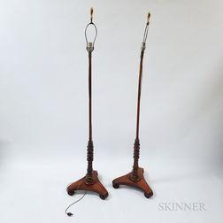 Pair of English Regency-style Turned Rosewood Floor Lamps