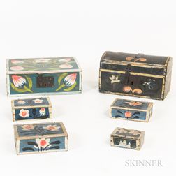 Six Continental Painted Wooden Boxes