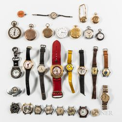 Group of Vintage Wristwatches, Pocket Watches, and Parts