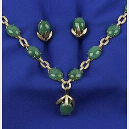 14kt Gold and Jadeite Jade Necklace and Earrings