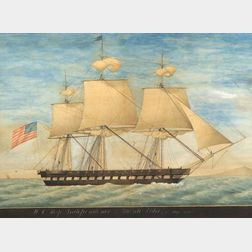 American School, 19th Century  Portrait of the USS Independence.