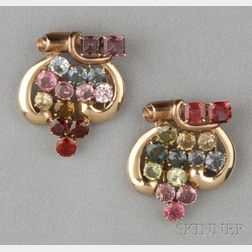 Pair of Retro 14kt Bicolor Gold and Gem-set Dress Clips