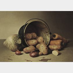 Robert Spear Dunning (American, 1829-1905)      Still Life with Root Vegetables, 1858