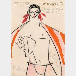 Lindsay Kemp (British, b. 1938)      Costume Design for Maurice ,  Probably Maurice Béjart