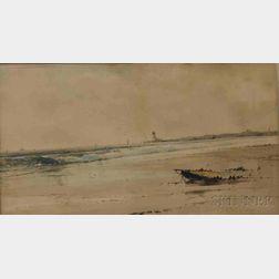Samuel A. Mulholland (British, 19th/20th Century)      Coastal Scene with Distant Lighthouse.