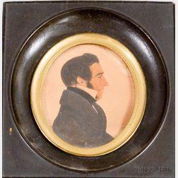 Framed Watercolor Profile Portrait Miniature